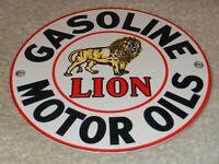 """VINTAGE """"LION GASOLINE & MOTOR OILS"""" 6"""" PORCELAIN METAL GILMORE, GAS & OIL SIGN!"""