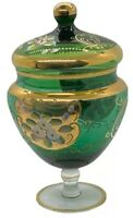 "8"" Vintage Venetian Murano Gold Gilt Enamel Green Art Glass Candy Dish"
