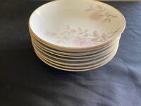 "CHINA: Harmony House PATRICIA floral, platinum Set of 8 Soup/Salad Bowls 7 3/4"""