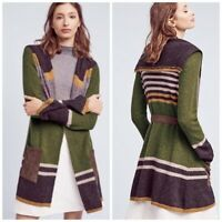 Anthropologie Angel of the north Wool mixed striped belted sweater cardigan M