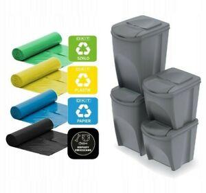 Set of 4 Waste Stackable Bins Trash Segregation Recycling Ecology RUBBISH 4x Bin
