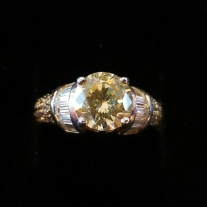 Vintage Diamonique Canary Yellow  and Clear CZ Sterling Silver Ring Size 6 QVC