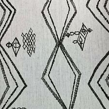 MOROCCAN BERBER STYLE BOHEMIAN WOVEN UPHOLSTERY FABRIC IN CHARCOAL & WHITE BTY