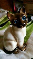 Vtg Enesco Siamese Chocolate Seating Blue Eyed Porcelain Ceramic Cat Figurine