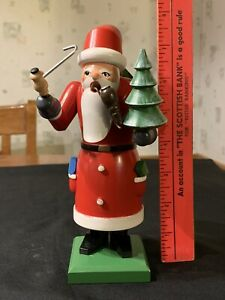 Wooden Carved Elegant Santa With Pipe Presents Tree #SHLF