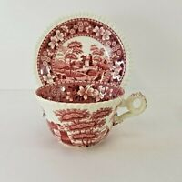 Copeland Spode Tower Pink Red Cup Saucer Set Old Mark England Multiples Avail