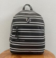 Tommy Hilfiger Black White Striped Backpack Shoulder Bag Purse 69j2054 001