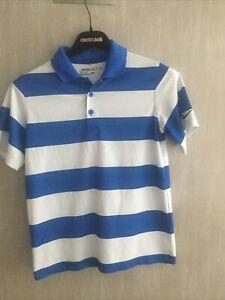 NIKE GOLF Dri-Fit Boys/Youth Blue/White Striped  Size Small