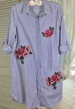 NEW~ L Blue White Stripe Long Embroidery Rose FlowerTop Shirt Boyfriend Blouse
