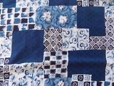 WtW Fabric Floral Pattern Cheater Cottage Shabby Blue White Vintage Quilt