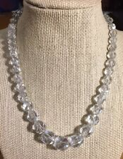 """Vintage 16"""" Long Graduated Clear Crystal Single Strand Necklace"""