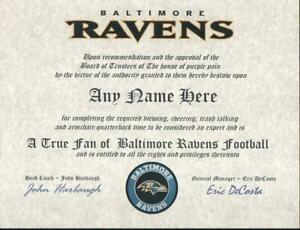 BALTIMORE RAVENS  NFL FAN  ~ CERTIFICATE ~ DIPLOMA ~MAN CAVE ~ OFFICE ~ GIFT