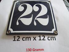 Hausnummer Emaille Nr. 22 weisse Zahl auf blauem Hintergrund 12 cm x 12 cm