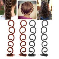 2PCS French Braid Plaiting Twist Braider Roller Hook Bun Maker Hair Styling Tool