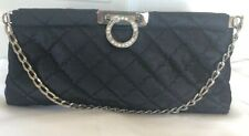 HYPE WOMEN'S CLUTCH PURSE W CHAIN SHOULDER STRAP BLACK QUILTED FABRIC HANDBAG
