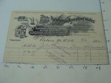 original Billhead - 1892 The WHITMAN AGRICULTURAL WORKS auburn maine SAWING