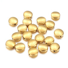 20pcs Tibetan Alloy Metal Beads Flat Round Smooth Loose Spacers Nickel Free 9mm