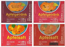 4 alte DDR Saft Etiketten - VEB OGEMA Salzwedel BT Calvörde - Apfelsaft Apfel...