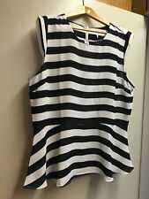 Beautiful round neck black/white stripe blouse by CAPTURE - Brand new - sz 20