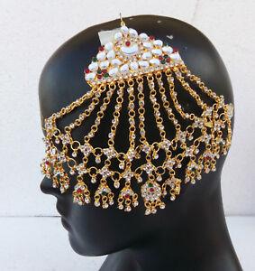 Wedding Wear Hair Decoration Jhoomar Indian Women Jewelry Kundan Cz Passa Tikka