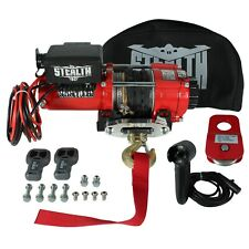 Stealth 3500lb 12v Electric Winch with Synthetic Rope, Control, Pulley & Cover