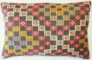 (40*60cm) Turkish handwoven kilim cushion cover natural dyes brocaded #ED5