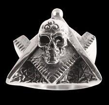 Stainless Masonic Skull Biker Ring Custom Size Handmade Free Mason Occult R-74ss