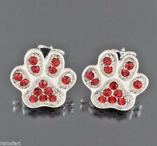 W Swarovski Crystal Paw Earrings Dog Cat Kitty Pawprint Pet Red New Jewelry
