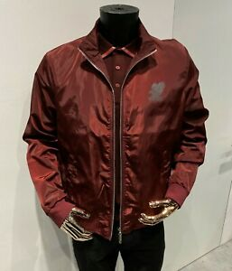 """STEFANO RICCI Jacket Zip Blouson Burgundy """"Eagle"""" size 3XL 58IT / 46US AUTHENTIC"""