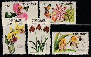 Colombia   1967   Sc # 768-69,C489-91   Orchids   VLH   (54756)