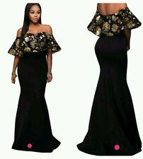 New Black gold off shoulder cocktail evening Gown Size 10-12-14