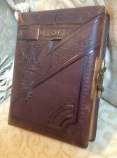 Antique Victorian Large Ornate Leather Photograph Album,Clasp,with Old Cdv Photo