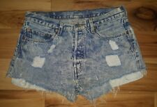 Vtg high waisted Levis 501 Cut Off Shorts size size 34 button fly Acid Washed