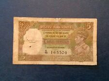 British India Five 5 Rupees 1937 Series Banknote George VI P 18 a
