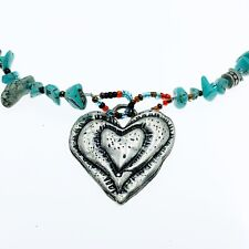 Nadri southwestern western Turquoise Chip necklace silver Heart