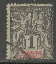 Madagascar (French) #28 (A7) FVF USED - 1896 1c Navigation and Commerce