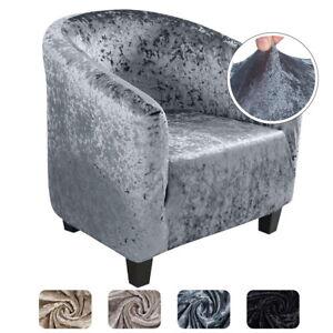 Tub Chair Covers Plush Elastic Velvet Fabric Armchair Sofa Seat Covers Slipcover