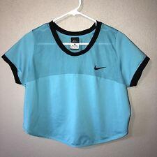 NIKE Dri Fit Crop Top Mesh Aqua Black Athletic Running Short Sleeve Womens XL