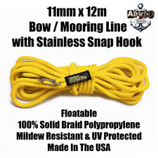 Docking Braid Dock Rope 11mm x 12.1m / 40ft Polyproplylene Bow Line Yellow!