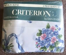 USA Vintage Shabby Cottage Chic Flowers & Ribbons Dan River Criterion Queen Set