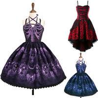 Medieval Renaissance Women Lolita Girl Lace up Braces Dress Cosplay Costume