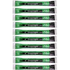 """Cyalume SnapLight Light/Glow Sticks, Green, 6"""" Long, 12 Hr, Exp 2021 (10 Pack)"""