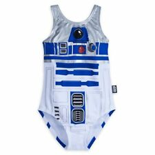 Disney Store Star Wars R2-D2 Girl One Piece Swimsuit White Blue 9/10 NEW