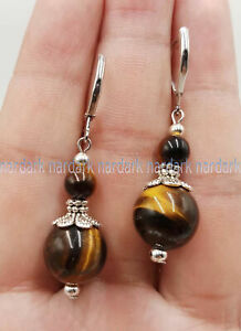 Wholesale 6-12mm Natural Multi-Color Mixed Gemstone Round Silver Dangle Earrings