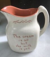 MOTTO WARE Pitcher-Vintage Ruth Price Signed Pottery; Penn Dutch Creamer; OLD