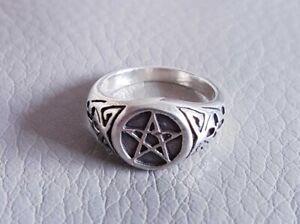 Star Pentagram Ring, 925 Sterling Silver Unisex Men's Women's Punk Gothic Biker