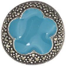 Marcasite Gemstone & Blue Enamel Flower Sterling Silver Ring size N