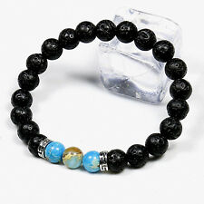Men Natural Stone Beaded Energy Crystal Lava Rock Bracelet Jewelry for Ladies UK