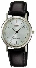 Casio Men's Black Leather Strap Watch, Silvertone Dial, MTP1095E-7A