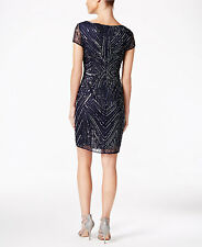 Adrianna Papell Beaded Sequined Sheath Dress Size 4m #B 498